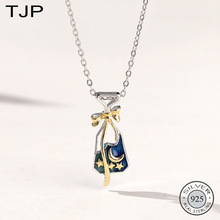 TJP S925 Sterling Silver Jewelry Korean Version of The Small Crowd Star Wish Bottle Necklace Moon Collarbone Chain