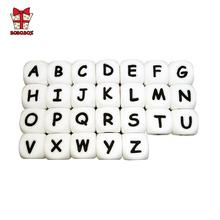 BOBO BOX 10 sztuk silikonowe alfabet angielski koraliki list BPA bezpłatny materiał dla DIY naszyjnik na ząbkowanie dla dziecka dziecko gryzak tanie tanio BOBO BOX Pojedyncze załadowany Lateksu Nitrosamine darmo Ftalanów BPA za darmo 7-9 miesięcy Silicone letter beads ROUND