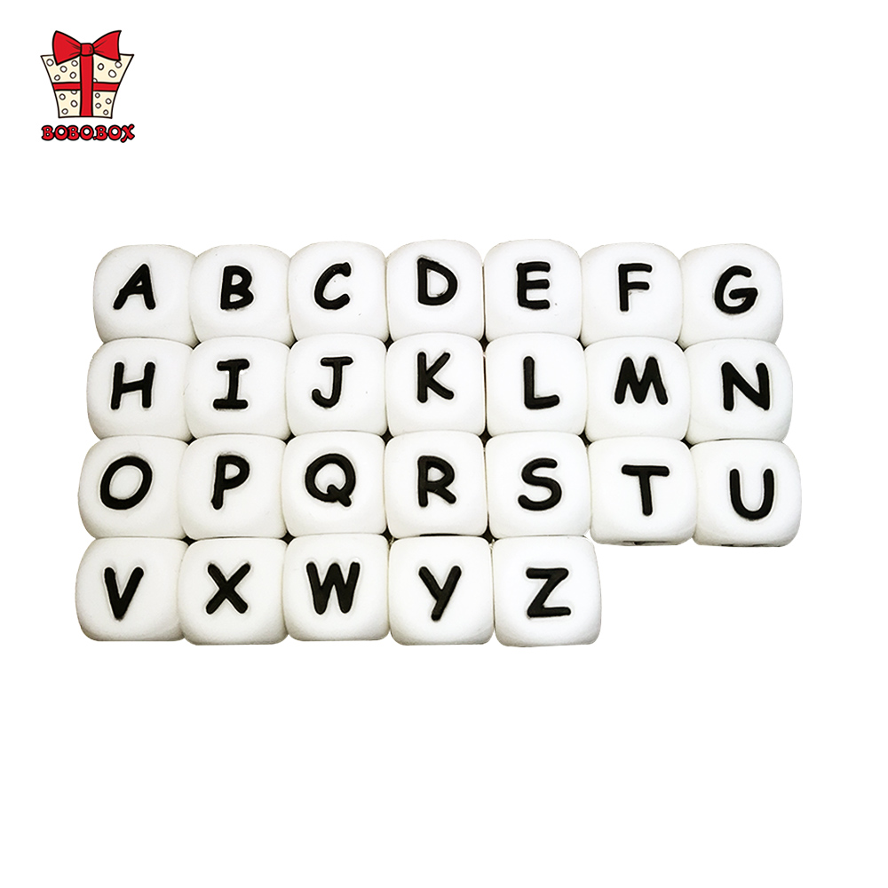 BOBO.BOX 10Pcs Silicone English Alphabet Beads Letter BPA Free Material For DIY Baby Teething Necklace Baby Teether