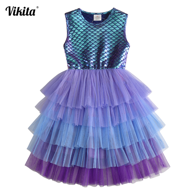 Girls Perform Dress Children Princess Tutu Dress Toddlers Summer Sleeveless Vestidos Kids Birthday Party School Casual Clothes