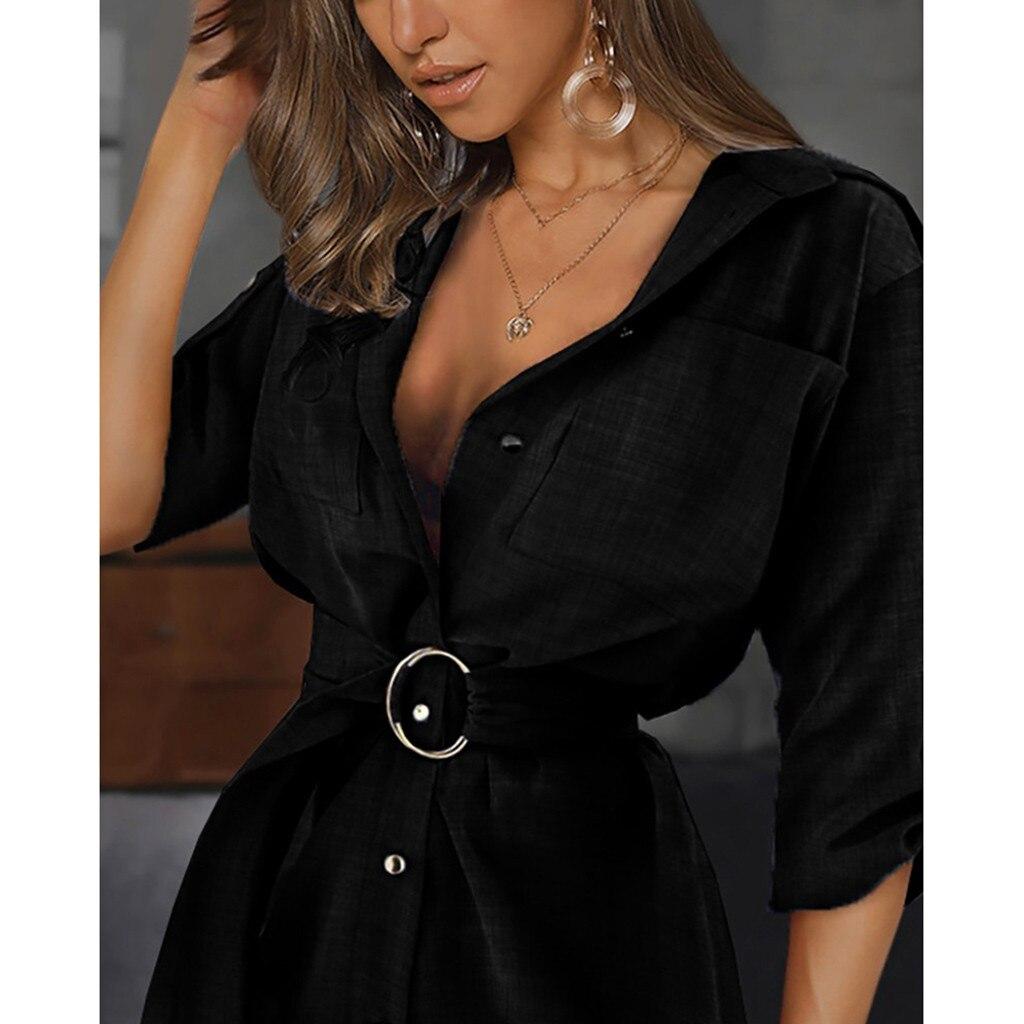 2021 nowych moda koszulka z dekoltem v sukienka kobiety Autum z długim rękawem Mini sukienka Ol pas w stylu Casual, biurowy gładka koszula bluzka bluzki Женские Юбки