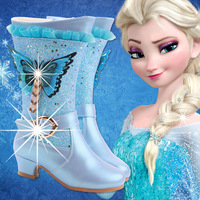 Children's Frozen Boots Kids Girls Crystal Long Tube Fashion Boots Sequins Winter Shoes 3#15/15D50
