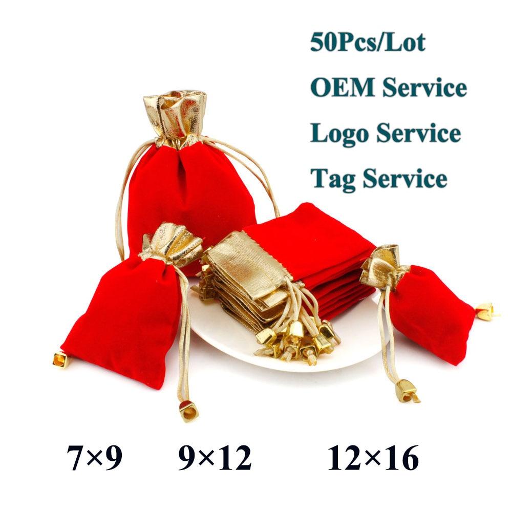 Элегантный красный бархатный мешочек, 7x9 9x12 12x16 50 шт./лот, Подарочный карман на шнурке, сумка для свадебных конфет, ювелирные изделия с индиви...