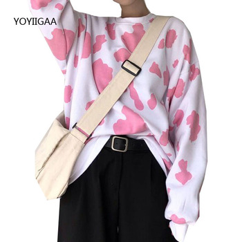 Spring Autumn Women T Shirt Cow Dot Print Ladies T-shirt O-neck Long Sleeve Women's Tee Tops Casual Loose Female T-shirt Tees abstract print casual long sleeve t shirt