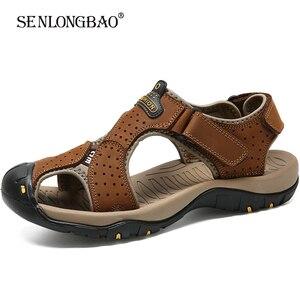 Мужские сандалии из натуральной кожи, повседневные пляжные сандалии на нескользящей подошве, большие размеры 38-48, для улицы, на лето