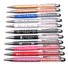 100Pcs/lot 21 Colors 2 in 1 Metal Roller Ballpoint Pen Crystal Diamond Screen Capacitive Touch Stylus Universal Free Custom Logo