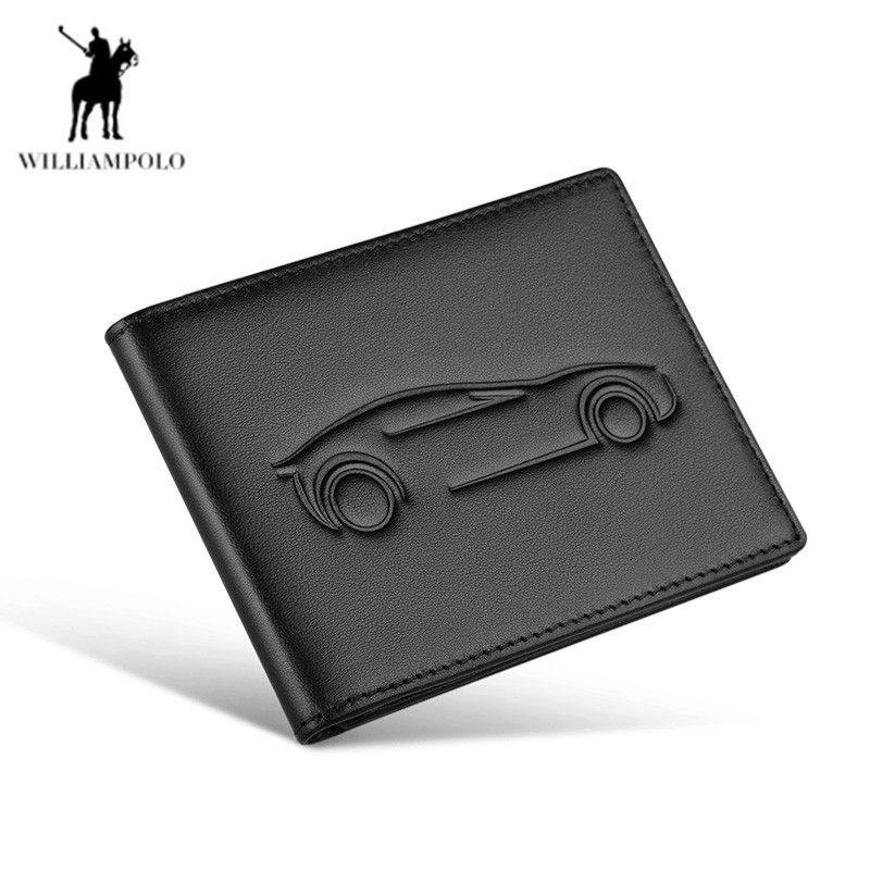 WILLIAMPOLO Super Slim Soft Wallet Driver License Holder Genuine Leather Mini Credit Card Wallet Purse Card Holders Men Wallet