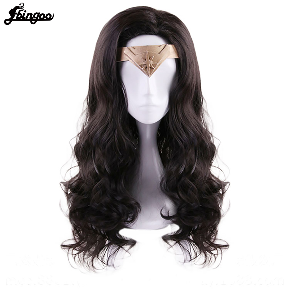 Ebingoo Hair Cap + Headwear + Wonder Woman Diana Prince Side Part Natural Long Body Wave Dark Brown Synthetic Cosplay WigSynthetic None-Lace  Wigs   -