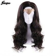 Ebingoo gorro de pelo + tocado + Peluca de pelo sintético de Mujer Maravilla, parte lateral del príncipe, pelo largo Natural ondulado, color marrón oscuro