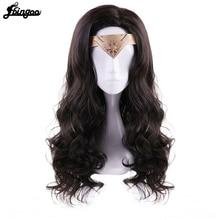 Parrucca per capelli Ebingoo + copricapo + Wonder Woman Diana Prince parte laterale parrucca Cosplay sintetica marrone scuro onda lunga naturale