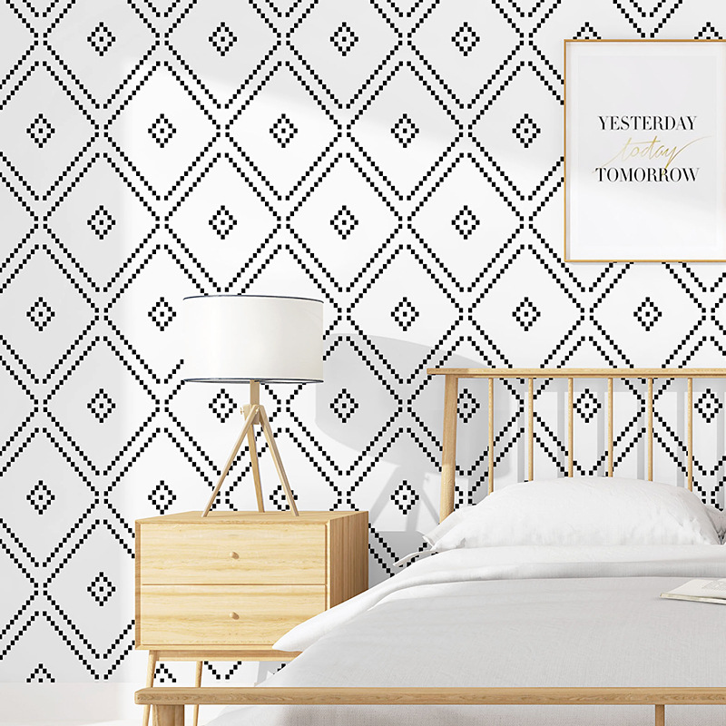 53 x 950cm Nordic Style  Ins TV Background Black and White Lattices Rhombus Bedroom Living Room Modern Simple B & B Wallpaper