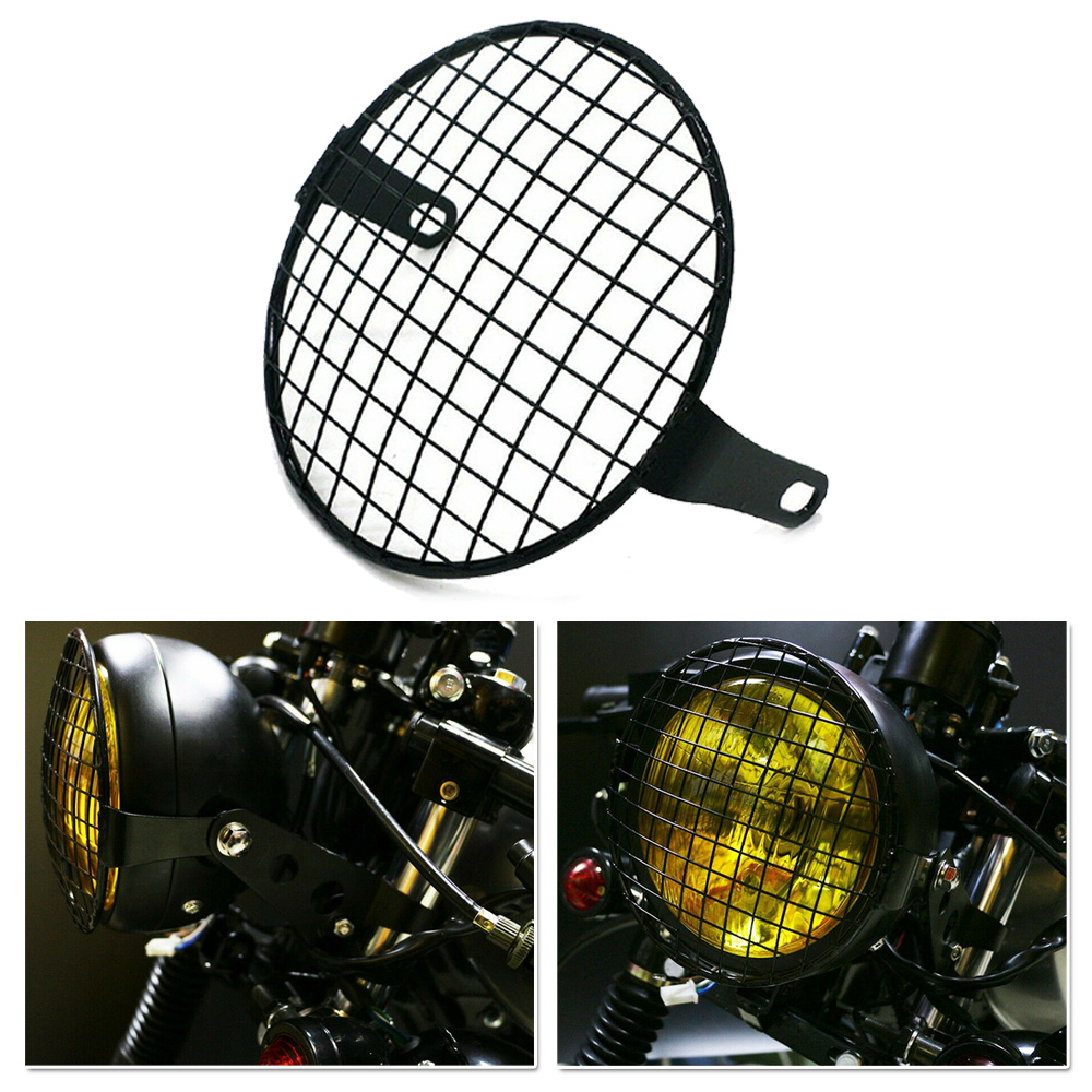 5.75 Inch Motorcycle Headlight Grille Cover Lamp Protector Guard Metal Universal Headlight Cover