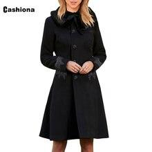 Женское элегантное длинное шерстяное пальто cashiona шикарная