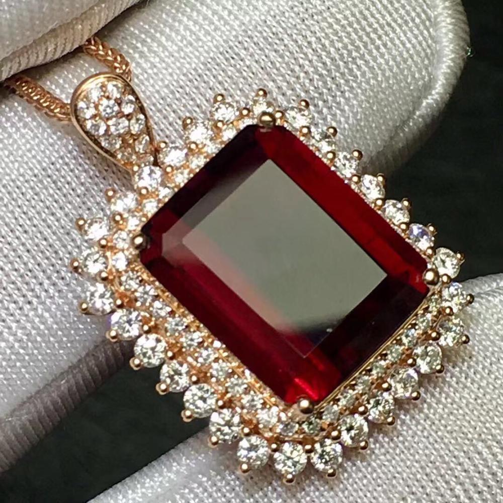 Rubillite Tourmaline Pendant Real 18K Gold Rose 100% Natural Rubillite Tourmaline 7.3ct Gemstones Diamond Pendant Necklace