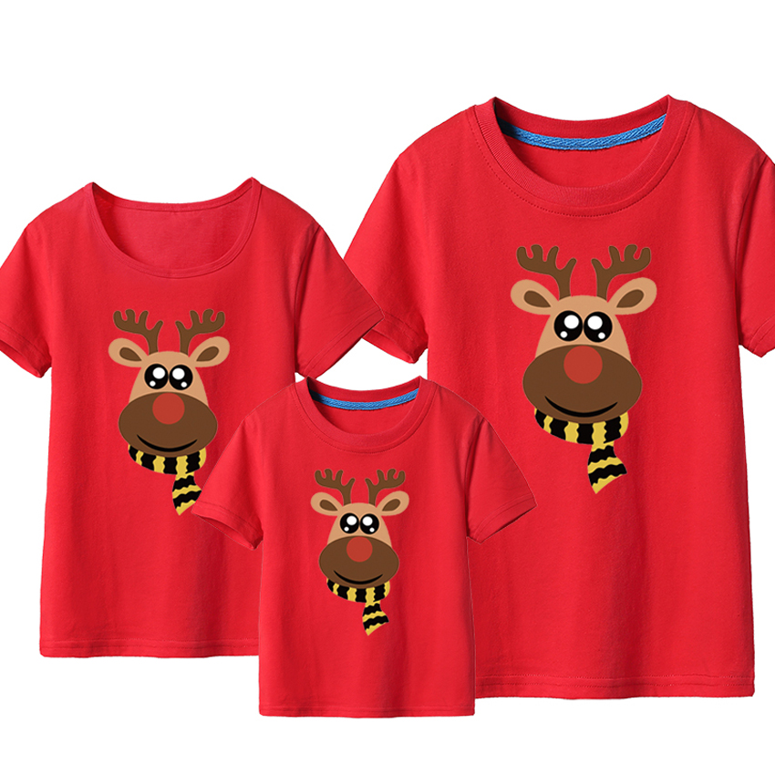 2019 Christmas T-shirt Family Matching Outfits Cartoon Elk Reindeer Print Mother Daughter Tees New Year Xmas Eve New Year Gift