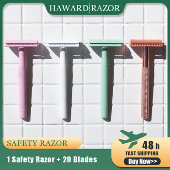 HAWARD Double Edge Safety Razor For Men 8 Colors Women Hair Removal Shaver Classic Manual Shaving Razor Free 20 Shaving Blade haward razor men s double edge razor classic manual safety razor stainless steel metal women hair removal shaver 10 razor blades