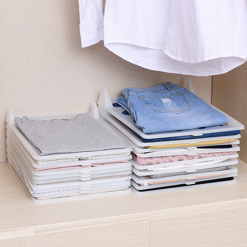 Fast Clothes Fold Plastic Board Wardrobe Clothing Organizer Unisex Shirt Travel Closet Drawer Auxiliary Tool for Home Storage