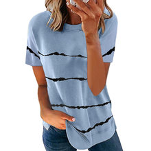 Women's Clothing Spring and Summer New Fashion Women's Tie-dye Printed Striped Loose Short-sleeved T-shirt Plus Size Ropa Mujer