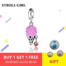 StrollGirl 925 Sterling Silver Strawberry Ice Cream Bead Pink Enamel Charm Suitable for Pandora Bracelet Women Fashion Jewelry