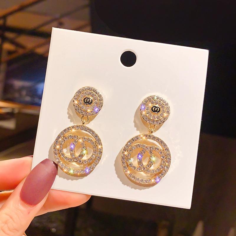 Luxury Rhinestone Geometric Drop Earrings for Women Girls 2020 New Bijoux Square Dangle Earring Party Jewelry Gifts Gold Trendy