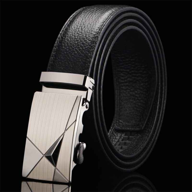 CKMN Brand Fashion Men's Automatic Buckle Black Genuine Leather Trouser Belt High Quality Male Luxury Leather Strap Hot Sale