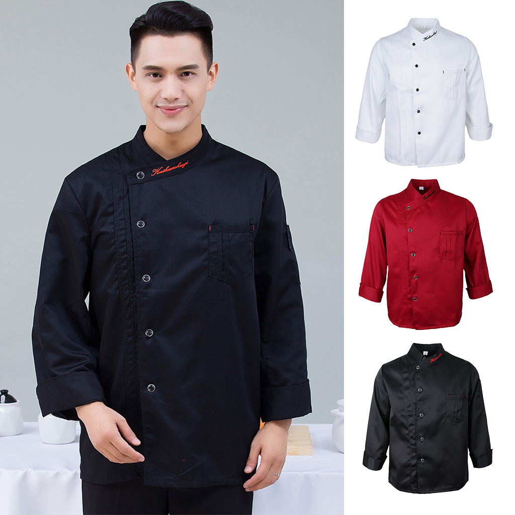 Unisex Single Breasted Cook Suit Long-sleeve Clothes Chef Uniform Chef Coats