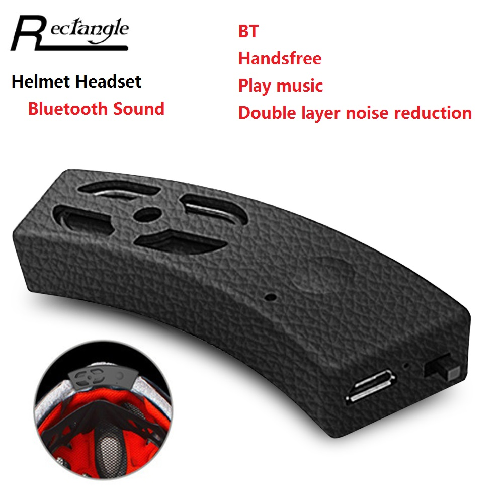 Rectangle Motorcycle Helmet Headset Portable Built-in Wireless Bluetooth IP54 Music Playing Hands-free Call Bicycle Motor Sound
