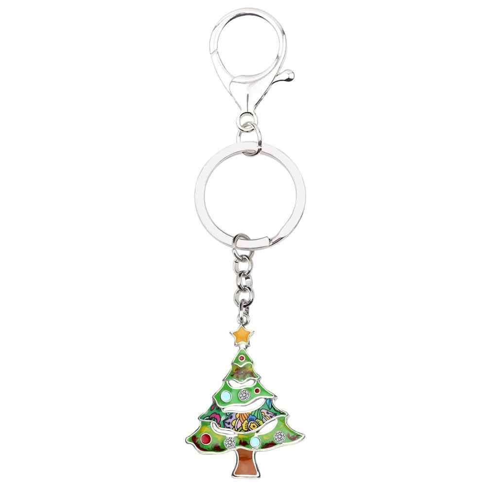 Bonsny Эмаль сплав аниме со стразами в виде рождественской елки брелок автомобиль сумка кошелек для ключей ювелирные изделия девушка женское украшение аксессуар