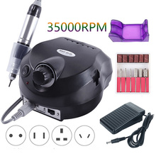 35000RPM Electric Nail Drill Machine Nail Salon Milling Cutters Manicure Pedicure Drill Strong Nail Drill Pedal Machine Tools