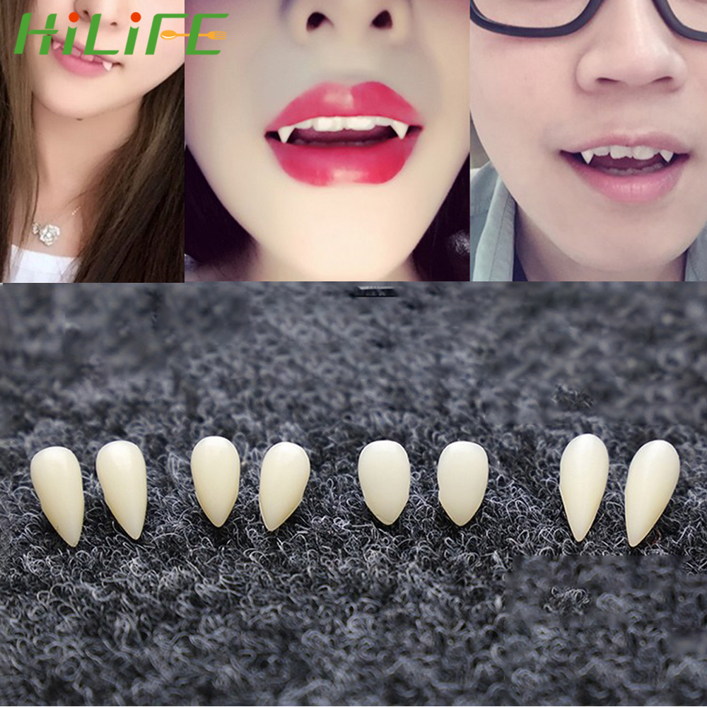 HILIFE DIY 1 Pair 4 Size Environmentally Friendly Resin Vampire Teeth Fangs Dentures Props For Halloween Costume Props Party