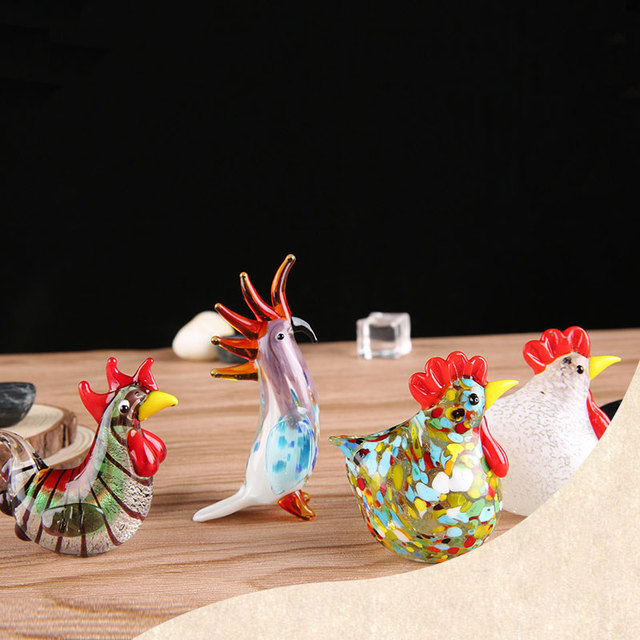Colorful Crystal Glass Rooster Turkey Animal Figurines Cock Chicken Miniature Hand Blown Modern Miniatures Home Decor Xmas Gift 6