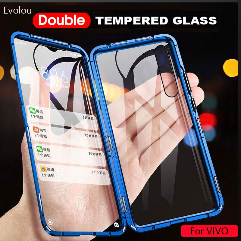 Magnetic Adsorption Case for vivo U20 Y19 Y5S V111 Y97 nex 3 Double Sided Tempered Glass Full Protect Case for vivo IQOO NEO Y7S|Fitted Cases| |  - title=