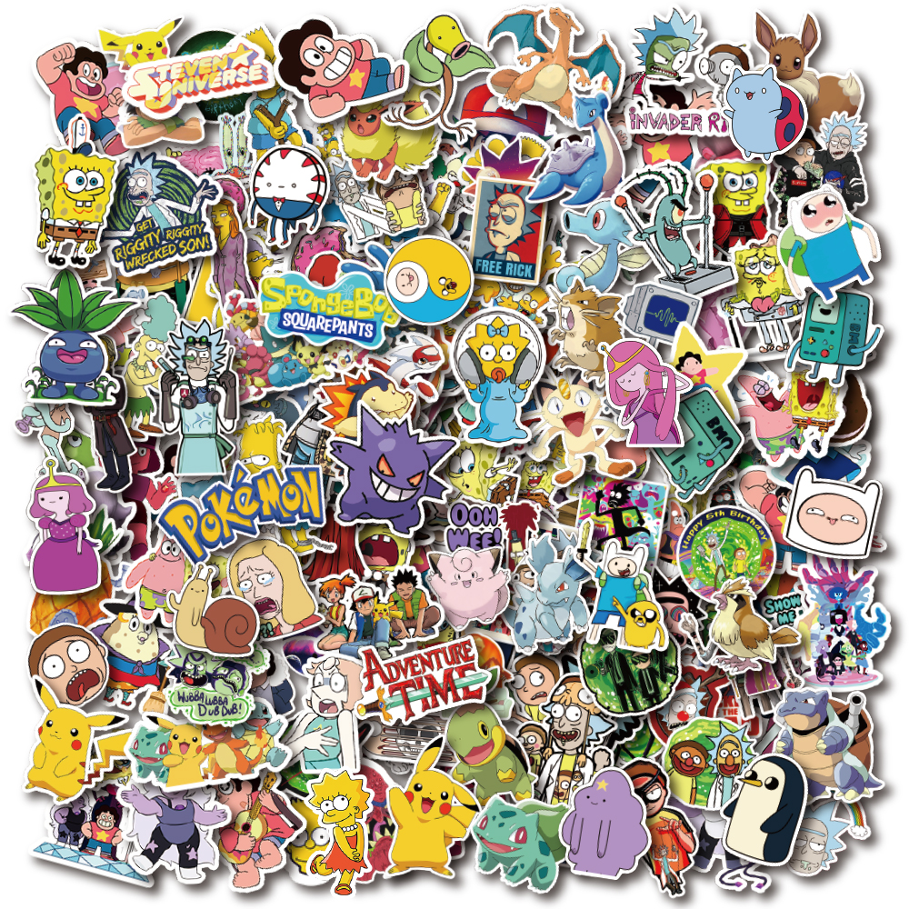 300 PCS Large Pack America Europe Animation And Pokemon Pikachu Cartoon Waterproof PVC Stickers For Laptop Helmet Bicycle Bottle