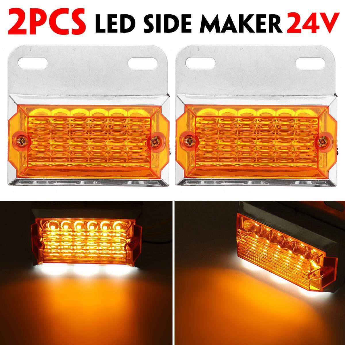 2pcs 24V 15 LED Side Marker Lights Car External Lights Squarde Warning Tail Light Signal Lamps Auto Trailer Truck Lorry Amber