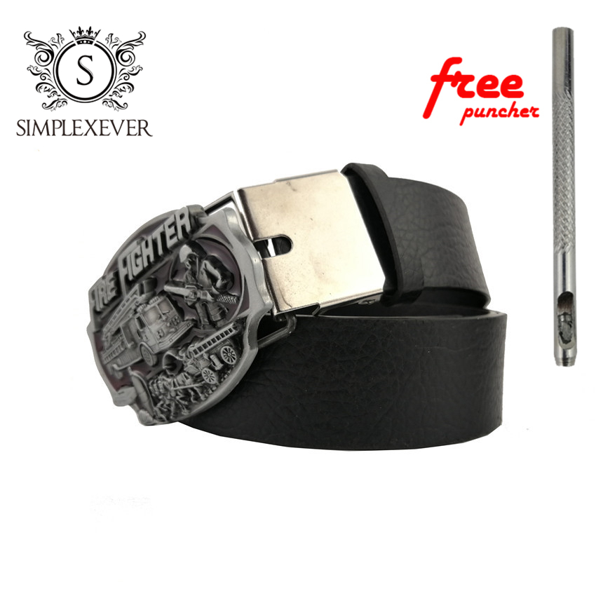 New FIRE FIGHTER Cowboy Belt Buckles with Metal Man Jeans Accessories for 4cm Wide Belt Belt Buckle Dropshipping