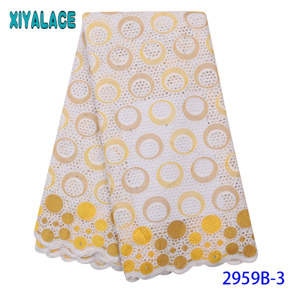 2019 African Lace High Quality Dry Cotton Lace Fabric Swiss Voile Lace Fabric With Diamond Laser Cut Lace KS2959B-3