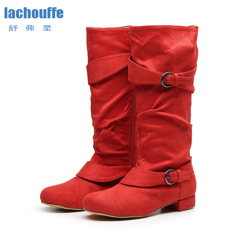 Winter Latin Dance Shoes Red  Ballroom Dancce Boots Women Flock Jazz Dance-shoes Sneakers For Woman High Top Shoes For Tango