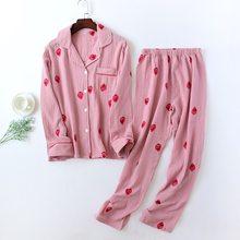 Conjunto de pijama de fresas blancas y rosas para mujer, ropa de dormir femenina de manga larga, 100% de gasa de algodón, sexy, de estilo coreano, 222