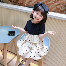 2020 Girls' Polka Dot Cake Dress Summer New Baby Chiffon Dress Fashion Dress polka dot zip up side dress