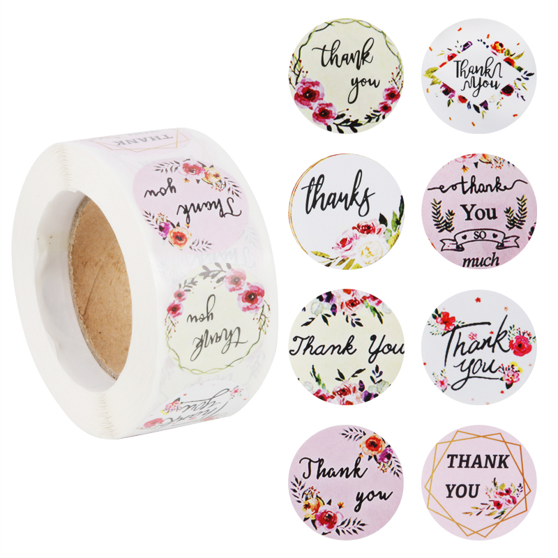 500pcs/roll paper Stickers Thank You packing gift bags Seal Labels Wedding decoration Christmas Scrapbook Handmade sticker