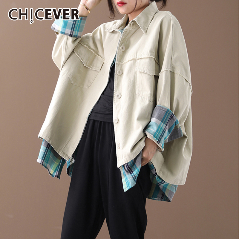 CHICEVER Korean Patchwork Hit Color Women's Jacket Lapel Collar Long Sleeve Oversized Loose Coat Female 2020 Autumn Fashion New