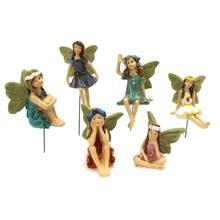 Jogo de jardim de fadas-estatuetas em miniatura balanço conjunto de 6 peças-pintados à mão para decoração de casa ou exterior