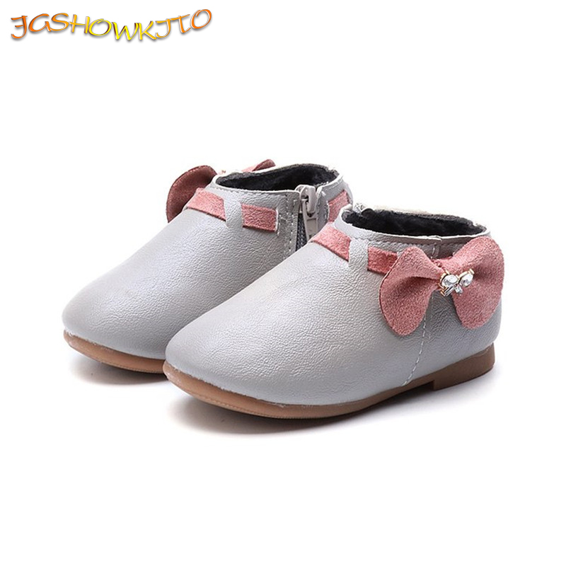Winter Baby Girls Shoes Kids Casual Shoes Children Cotton Shoes With Bow-knot Bowtie Rhinestone Sweet Warm Soft Princess 21-30