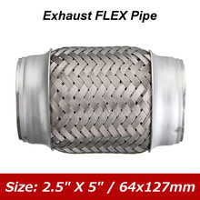 2.5 Inch x 5 Inch Car Stainless Steel Exhaust Pipes Double Braided Flex Connector Ripple Sliver