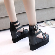 Women Platform Sandals Summer Toe PU Leather Wedges Ladies Roman Women's Buckle Non Slip Female 2020 Woman Peep Drop Shipping(China)