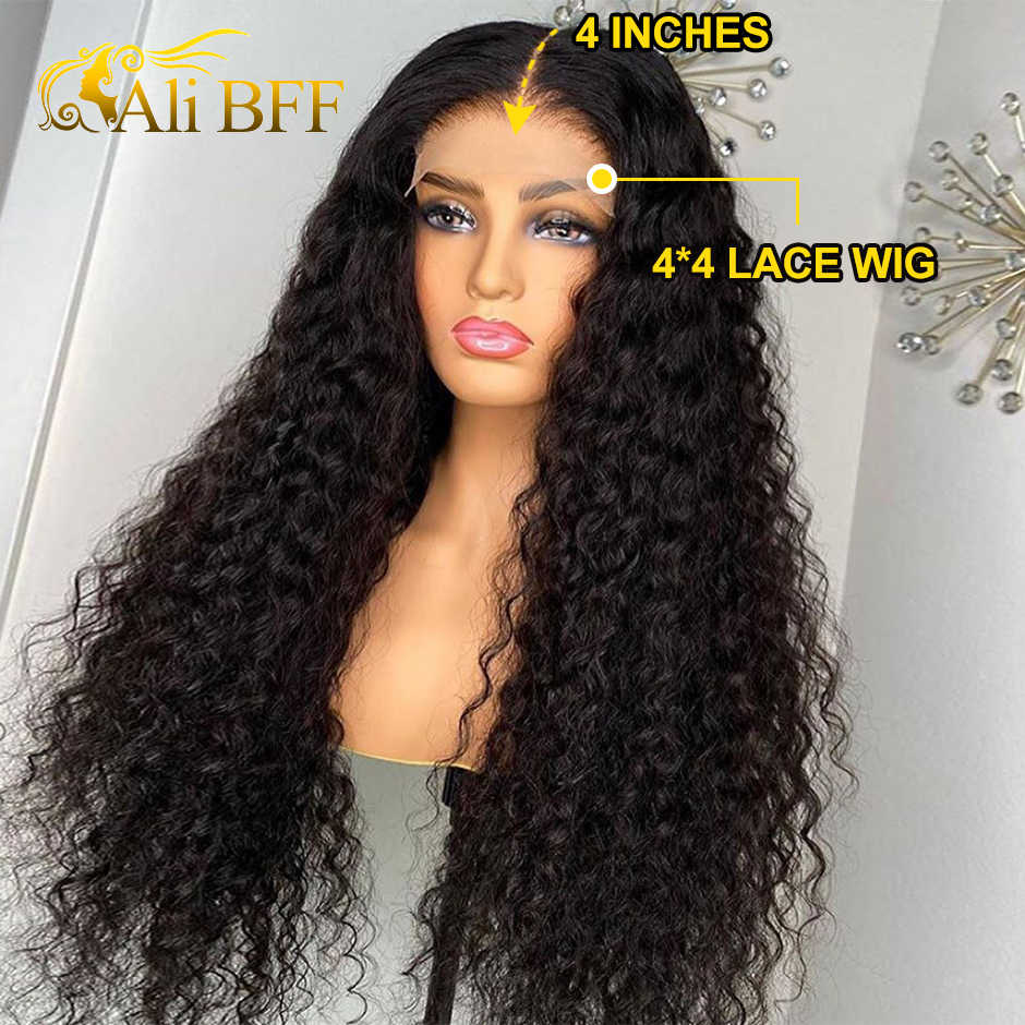ALI BFF, peluca de encaje transparente HD, peluca de onda de agua, peluca de encaje frontal de cabello humano, pelucas completas de encaje pre-arrancadas, nudos blanqueados, peluca de encaje remy