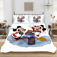 Christmas Mickey Minnie King-Full Size Soft Bedding set Bedclothes Include Duvet Cover Pillowcase Print Home Textile Bed Linens