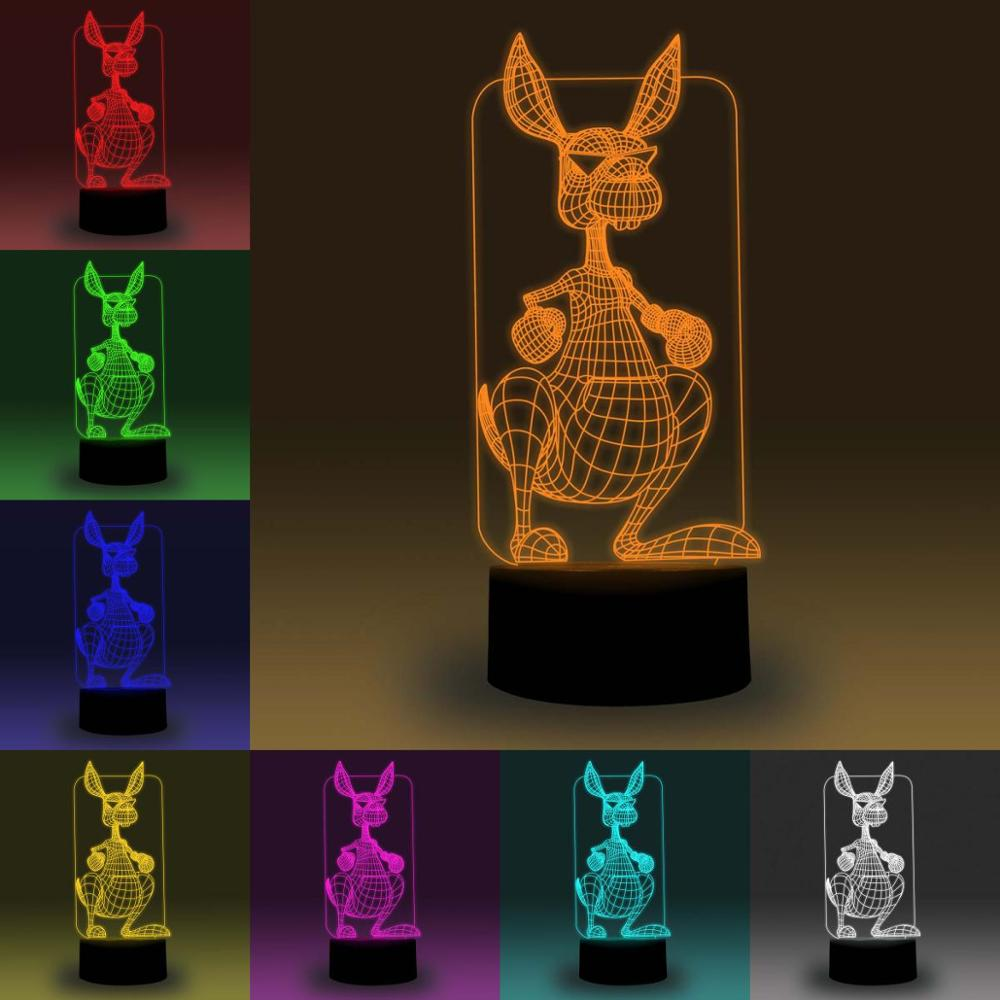 NiteApps 3D Kangroo Night Light Desk Table Illusion Decoration Lamp Holiday Birthday Gift APP/Touch Control