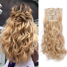 24inch Long curly Synthetic Hair 16 Clip In Hair Extension 6pcs/set Heat Resistant Natural Wavy Hair Piece