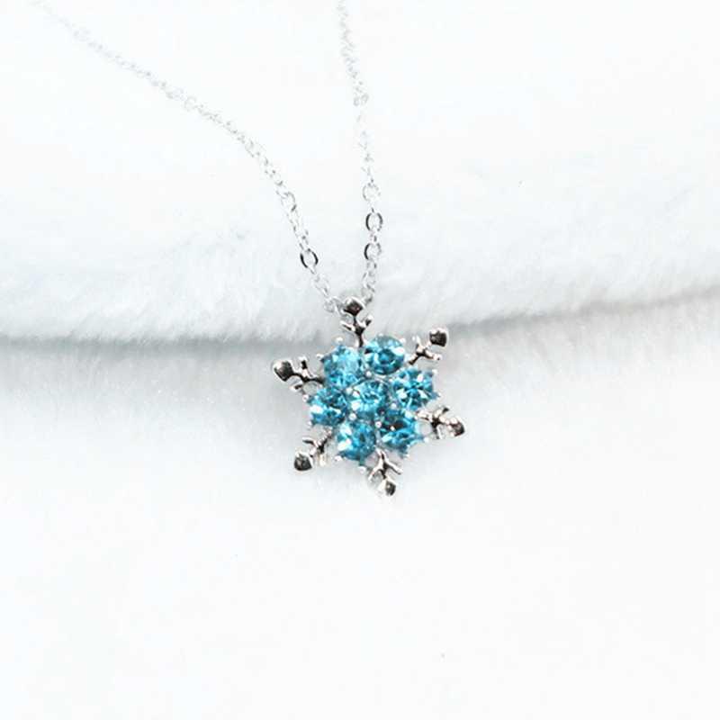 Vintage Wanita Biru Kristal Kepingan Salju Zircon Bunga Kalung & Liontin Perhiasan Natal Hadiah untuk Wanita Wanita Grosir
